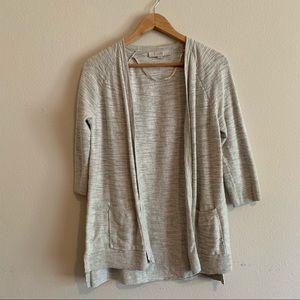 Loft Light Gray Cardigan Size Medium